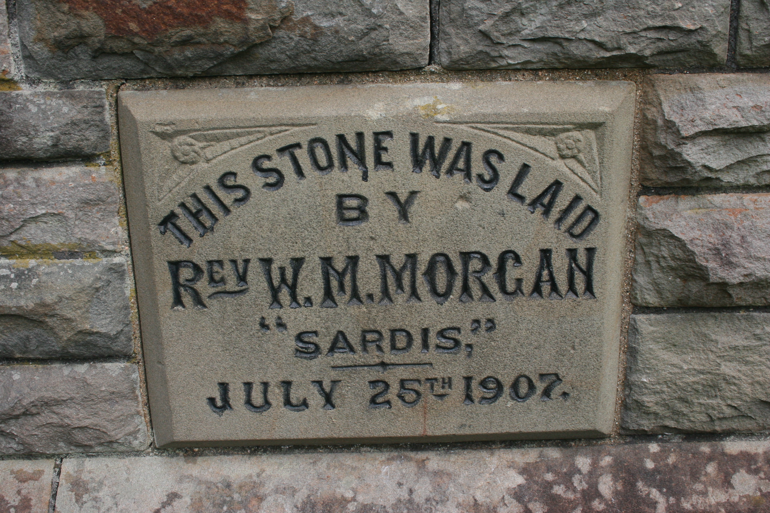 The foundation stone mentioning the Reverend of Sardis