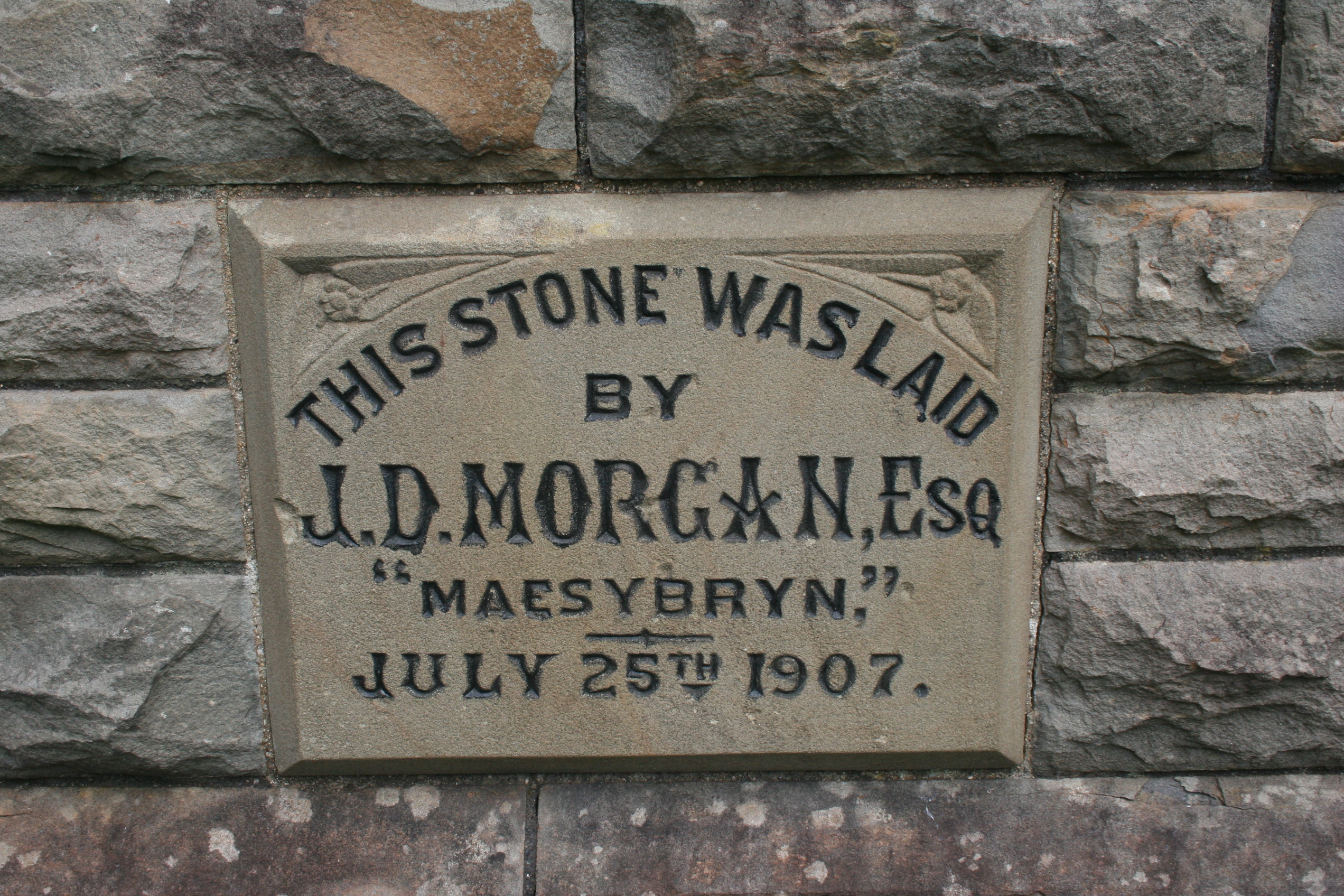 Foundation stone of the English Congregational Church, Ystradgynlais